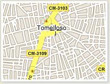 Mapa de localización de Tomelloso. Ciudad Real. Castilla La Mancha. España.